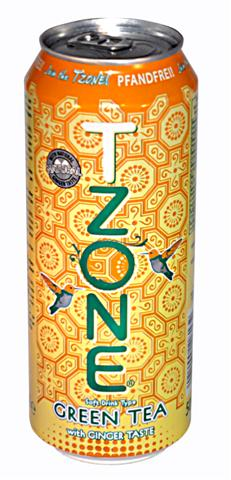 T-Zone green tea, ginger taste, 0,5 l cans, 1 tray
